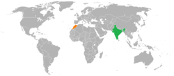 Map indicating locations of India and Morocco