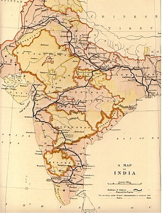 The railway network of India in 1871, all major cities, Calcutta, Bombay and Madras, as well as Delhi are connected IndianRailways1871b.jpg