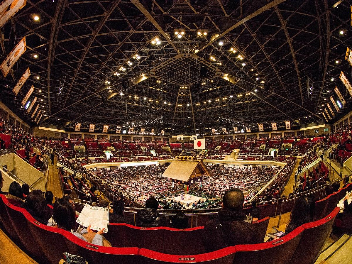 Inside the Ryogoku Kokugikan at the 2014 January Sumo Tournament.jpg