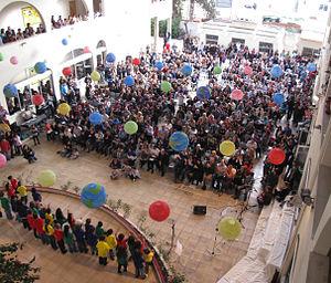 American Academy Nicosia - International Day celebrations in main building quadrangle
