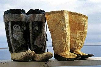 Mukluk - Sealskin kamik. Left, winter kamik, right, summer kamik. Rachel Uyarasuk, Iglulik, Nunavut, Canada