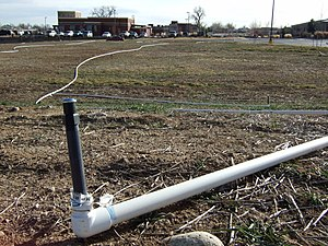 Irrigation sprinkler - Image: Irrigation sprinklers uninstalled