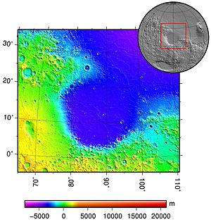 Isidis Planitia - Image: Isidis basin topo