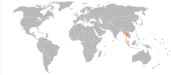 Map indicating locations of Israel and Thailand