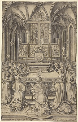 Mass of Saint Gregory - The largest of 10 engravings by Israhel van Meckenem, 1490s, with an indulgence of 20,000 years at bottom.