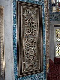 Inlay with nacre tesserae Bagdad pavilion, Topkapı Palace, Istanbul, Turkey