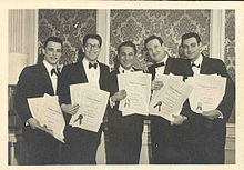 Greenfield, at far right, at the 1962 BMI Awards