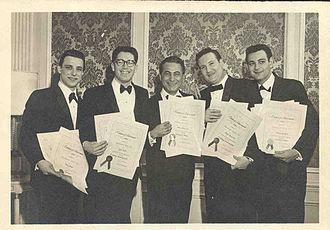 Jack Keller (songwriter) - Barry Mann, Jack Keller, Al Nevins, Don Kirshner and Howie Greenfield at the 1962 BMI Awards