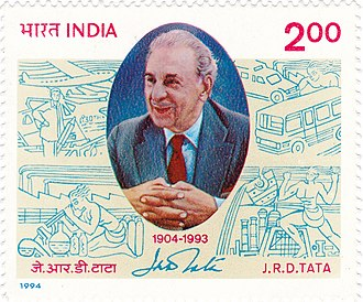 J. R. D. Tata - Tata on a 1994 stamp of India