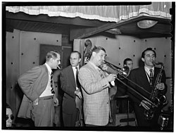 Jack Teagarden, Bill Harris, Dave Tough, and Charlie Ventura, Three Deuces, New York, N.Y., between 1946 and 1948 (William P. Gottlieb 08441).jpg