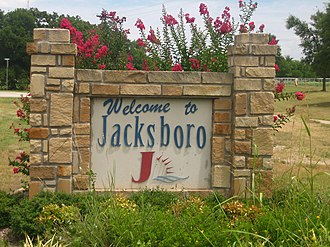 Jacksboro, Texas - Jacksboro welcoming sign