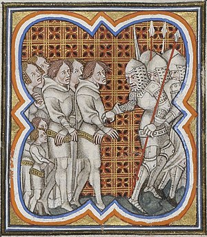 Jacquerie - Prisoners in an illuminated manuscript by Jean Froissart