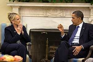 Jan Brewer - Governor Jan Brewer meeting with President Barack Obama in June 2010.