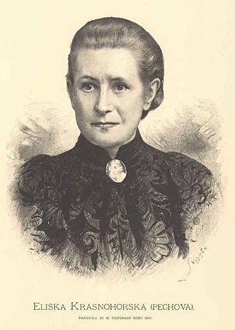Eliška Krásnohorská - Portrait of Eliška Krásnohorská by Jan Vilímek