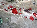 Jasper pebbles in quartzite (Lorrain Formation, Paleoproterozoic, ~2.3 Ga; Ottertail Lake Northeast roadcut, near Bruce Mines, Ontario, Canada) 5 (33831673848).jpg