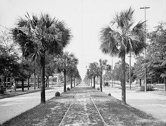 History of Jacksonville, Florida - Jacksonville's Main Street and boulevard, circa 1903