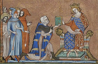 Jean de Joinville - Jean de Joinville presenting his book Life of Saint Louis to the king Louis X, miniature,  14th century.