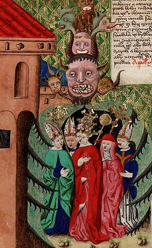 Bohemian Reformation - The pope with a cardinal and bishops as representatives of the decadent church in an embrace of the apocalyptic beast