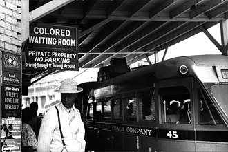 "Jim Crow laws - Sign for the ""colored"" waiting room at a bus station in Durham, North Carolina, 1940"