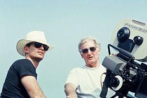Kent L. Wakeford - Wakeford (right) on set with director Joel Hershman on Hold Me, Thrill Me, Kiss Me in 1992