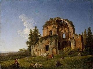 Landschaft mit der Ruine des sogenannten Tempels der Minerva Medica in Rom