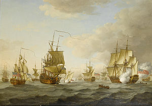 John Cleveley the Elder - Admiral Byng's fleet getting underway from Spithead.jpg