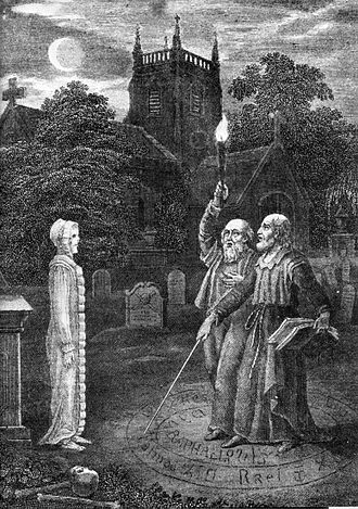 Black magic - John Dee and Edward Kelley using a magic circle ritual to invoke a spirit in a church graveyard.