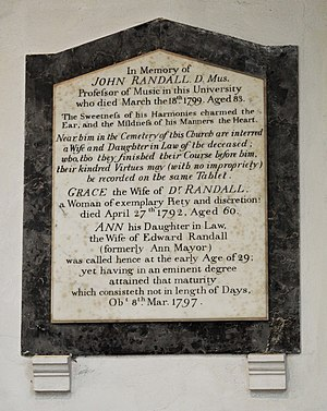 John Randall (organist) - Memorial to John Randall in St Bene't's Church, Cambridge