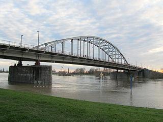 John Frost Bridge bridge over the Neder-Rijn, Netherlands
