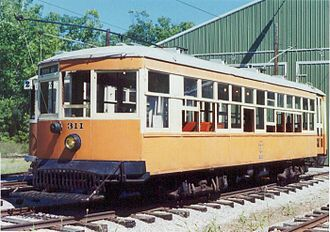 Johnstown Traction Company - Johnstown Traction 311, shown at the Rockhill Trolley Museum in 2002.