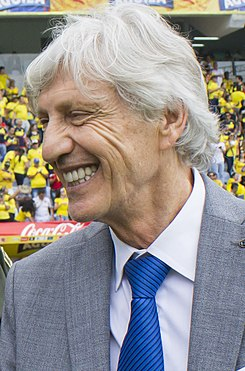 José Néstor Pékerman and Police at Colombia vs Uruguay match for Russia 2018 (cropped).jpg