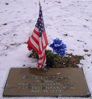 Joseph Bowman - Joseph Bowman grave marker, at St. Francis Xavier Cathedral Cemetery, near George Rogers Clark National Historical Park, Vincennes, Knox County, Indiana