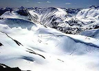 Coast Range Arc - View of the Juneau Icefield and granite outcrops in the Boundary Ranges of the Coast Mountains