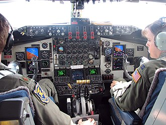 Boeing KC-135 Stratotanker - Flight deck of KC-135R; instrument panel has been modified under the Pacer-CRAG program