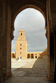 Kairouan Great Mosque, minaret seen from the south portico of the courtyard.jpg