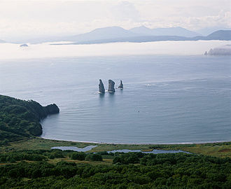 Kamchatka Peninsula - Three Brothers rocks in the Avacha Bay