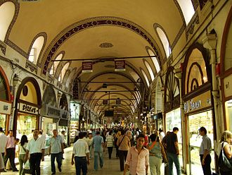 Grand Bazaar, Istanbul - Kalpakçılar Caddesi, the gold jewellers' road, is one of the 61 covered streets inside the Grand Bazaar.