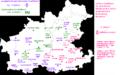 Karlheinz Jakob, Dialekt und Regionalsprache im Raum Heilbronn. Teil 2, Kartenbd. Karte 50 u. 52 - Orte mit ostfränkischer Prägung - ǭ (HN u. Hohenlohe) als ostfränk., offene Qualität für ô (mittelhochdeutsch)-, Marburg 1985.PNG