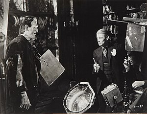 Bride of Frankenstein - Boris Karloff, director James Whale, and cinematographer John J. Mescall on set of Bride of Frankenstein (1935)