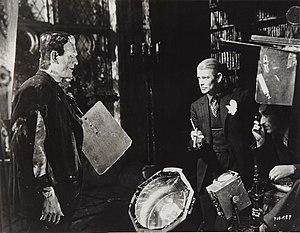 Bride of Frankenstein - Boris Karloff, director James Whale, and cinematographer John J. Mescall on set of Bride of Frankenstein (1935)