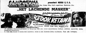 Union Films - A Dutch-language advertisement for Union's first film, Kedok Ketawa (1940)