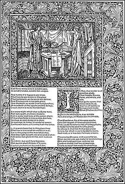 A printed page. A picture and some text and set asymmetrically in a wide band decorated with a leaf motif. The text shows the last few verses of Book I and the start of Book II of Troilus and Criseyde. The first letter of Book II is ornately decorated. Above the text, the picture is set in its own decorated border. It shows the tall slender figures of a man and a woman in long medieval clothing. Between them is a hexagonal table set with food and drink.