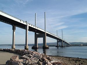 A9 road (Scotland) - The Kessock Bridge, completed in 1982, which crosses the Moray Firth and shortened the route north out of Inverness by 14 miles