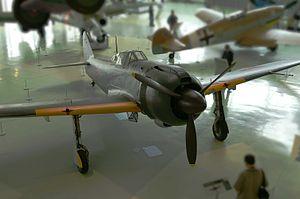 Kawasaki Ki-100 - The same Ki-100 viewed from the front. Photograph at the RAF Museum at Hendon, London