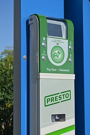 Presto card - A Presto card reader at a YRT/Viva bus station.