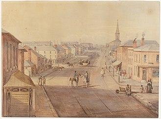 Frederick Garling Jr. - King St, Sydney, by Frederick Garling (c1843)