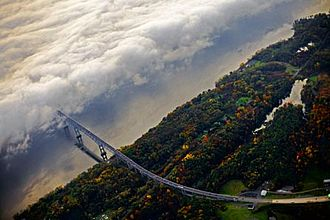 Kingston–Rhinecliff Bridge - Westward commuters drive into fog which covers the Rhinecliff half of the Kingston–Rhinecliff Bridge on a fall morning
