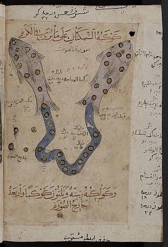 Pisces (astrology) - Image: Kitab al Bulhan zodiac fish pisces