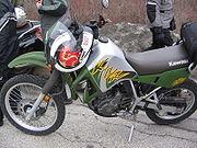 The popular Kawasaki KLR650 dual-purpose motorcycle
