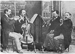 Musical ensemble - The Kneisel String Quartet, led by Franz Kneisel, is an example of chamber music.  This American ensemble debuted Dvořák's American Quartet, opus 96.